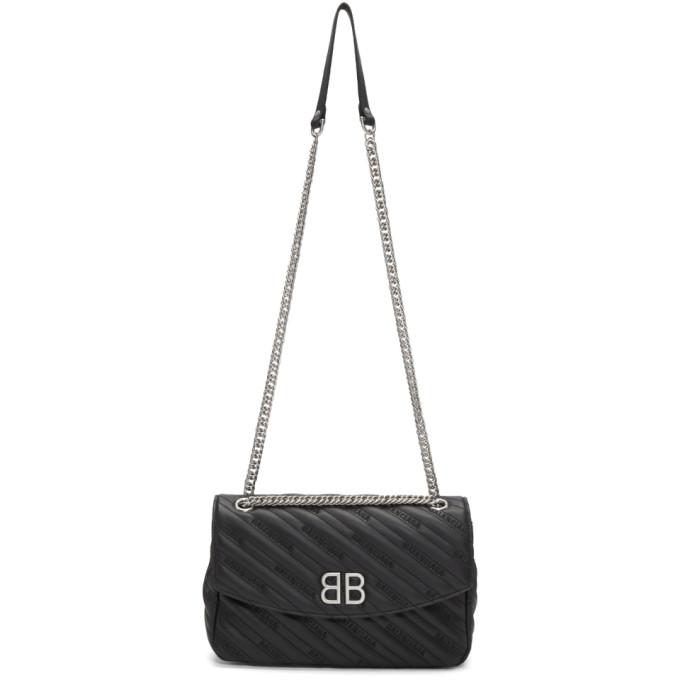 Balenciaga Black Medium BB Round Chain Bag