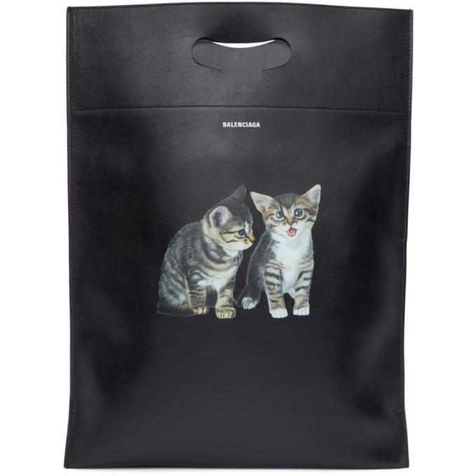 Balenciaga Black Small Kitten Plastic Bag Shopper Tote