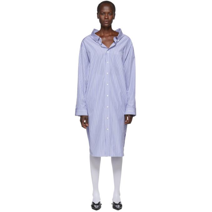 a1045a21e816 Balenciaga Blue and White Striped Swing Shirt Dress