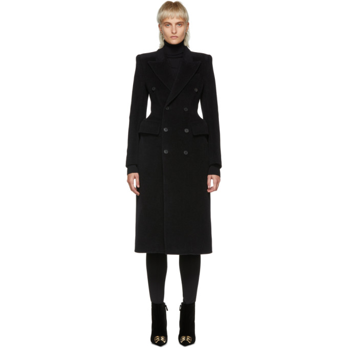 Image of Balenciaga Black Hourglass Double-Breasted Coat