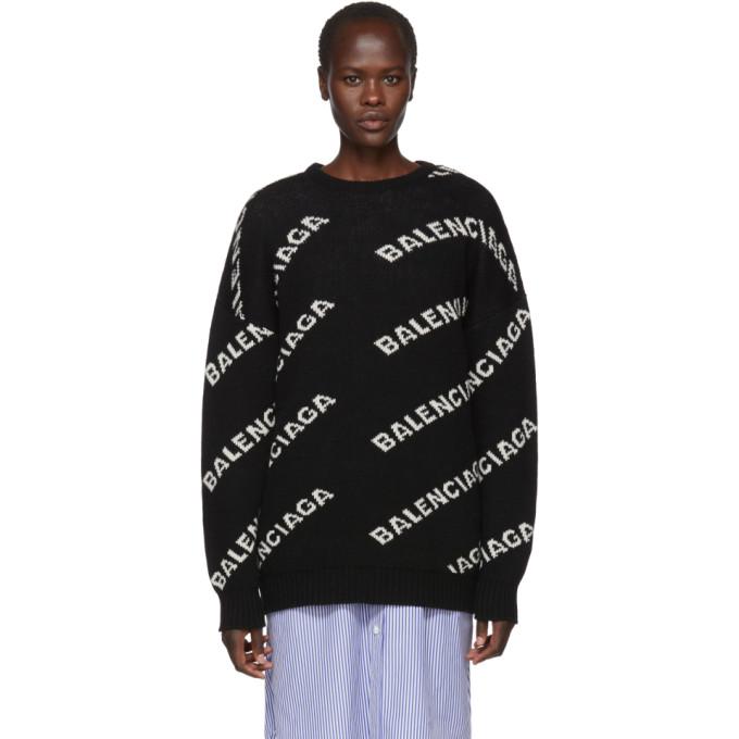 Image of Balenciaga Black All Over Logo Crewneck Sweater
