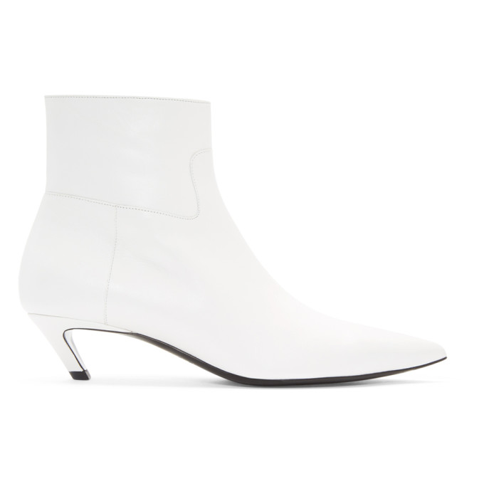 Balenciaga White Slash Heel Boots
