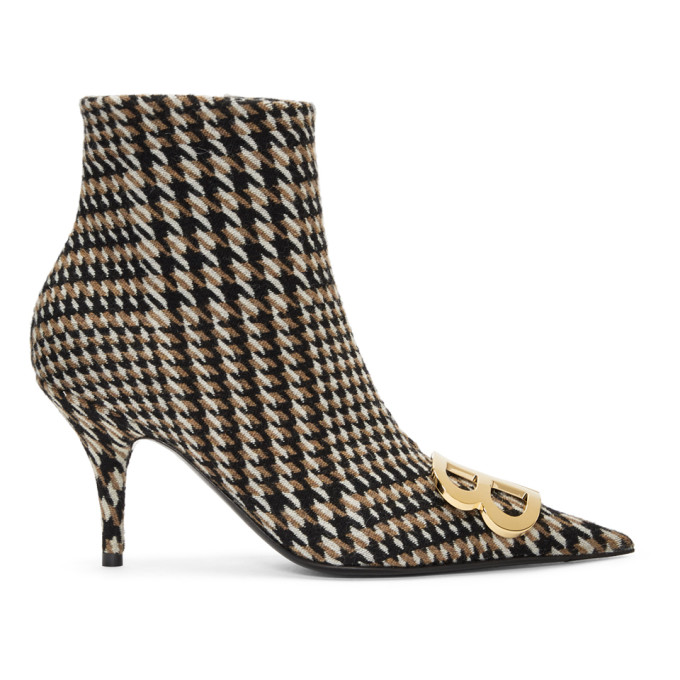 Balenciaga Camel & Black Houndstooth Ankle Boots