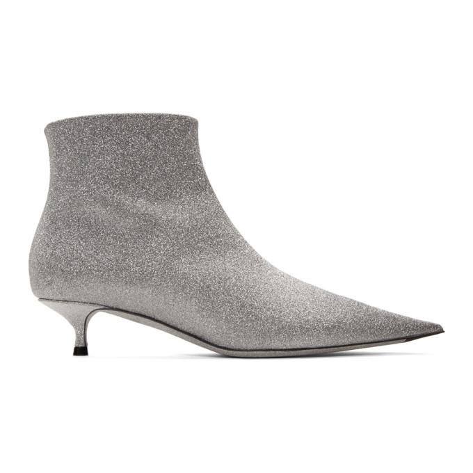 Balenciaga Leather Glitter Kitten Heel Booties In 8100 Silver