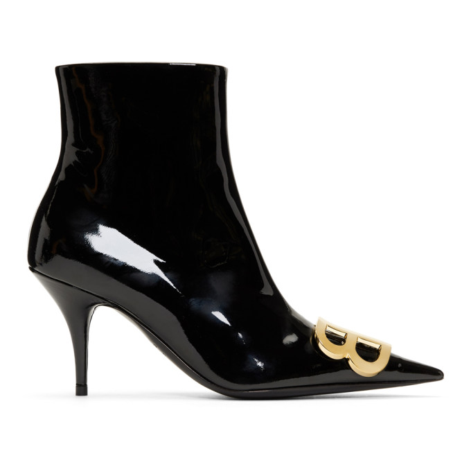Balenciaga Black Patent BB Ankle Boots
