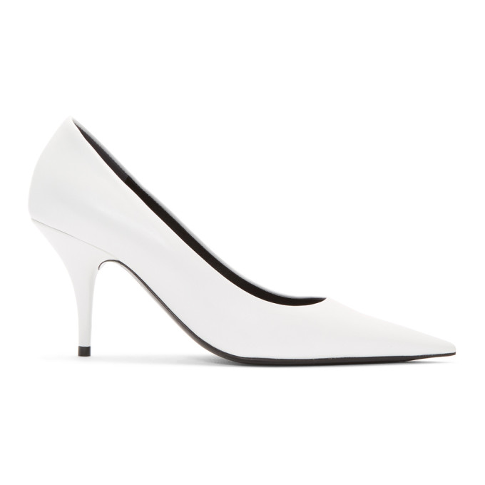 Balenciaga White Leather Pointed Heels