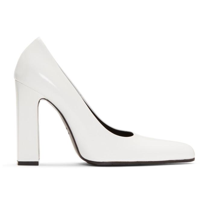 Balenciaga White Rectangular Heel Pumps