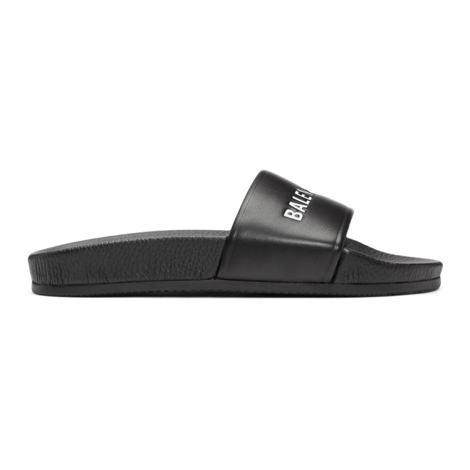 Balenciaga Black Leather Pool Slides