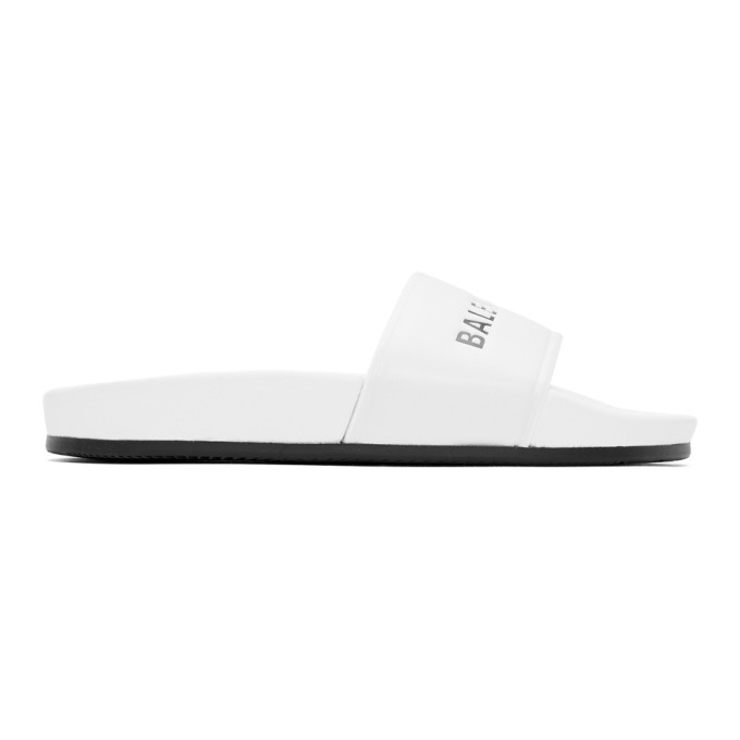 Balenciaga White Leather Pool Slides