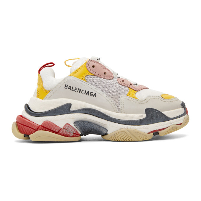 Balenciaga Yellow & Grey Triple S Sneakers