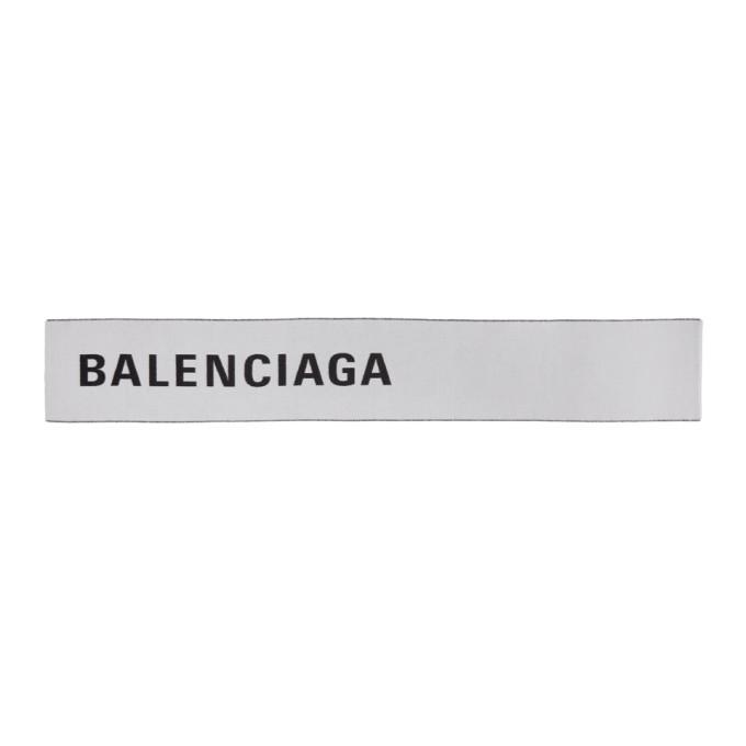 Balenciaga Foulard a logo blanc et noir Large