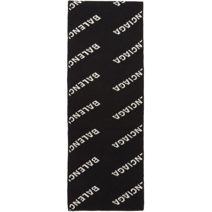 Balenciaga ブラック オールオーバー ロゴ マフラー