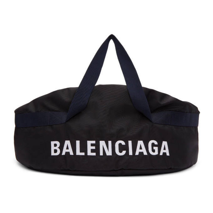 Balenciaga Black & Navy Medium Wheel Duffle Bag