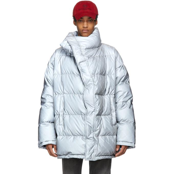 Balenciaga グレー ダウン プロファイル カラー ジャケット