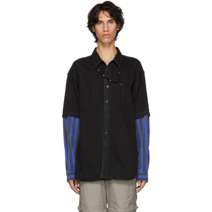 Balenciaga ブラック & ブルー コンボ ファブリック シャツ