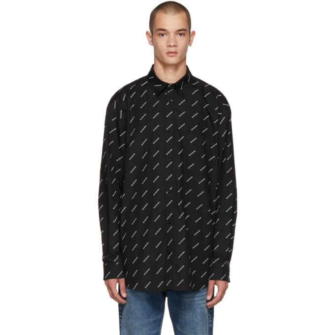 Balenciaga ブラック オール オーバー ロゴ シャツ