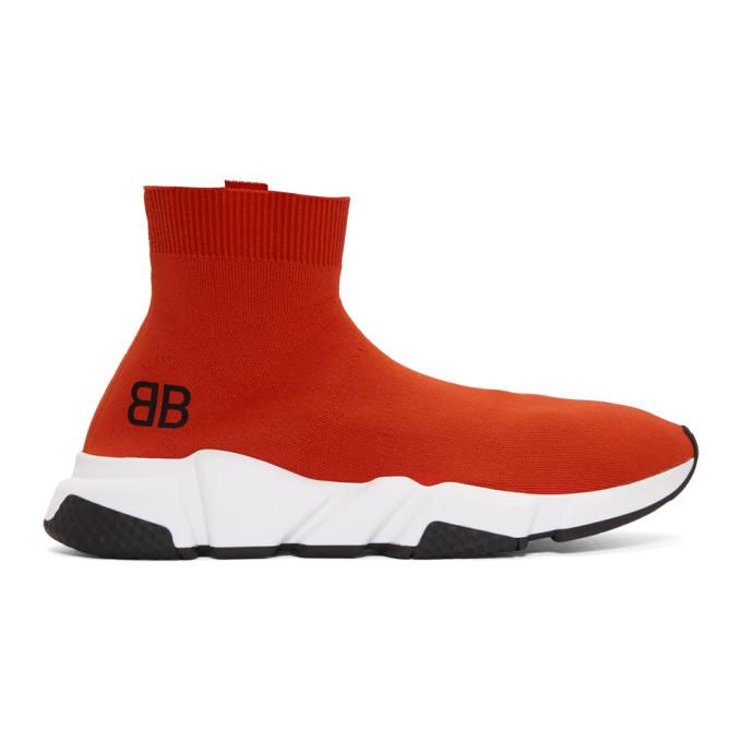 BALENCIAGA | Balenciaga Red Speed High-Top Sneakers | Goxip