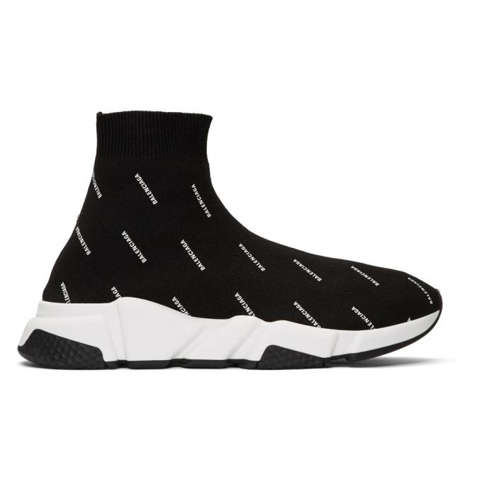 Balenciaga Black All-Over Logo Speed Sneakers