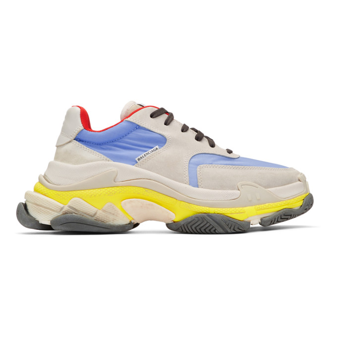 Balenciaga Grey & Blue Triple S Sneakers