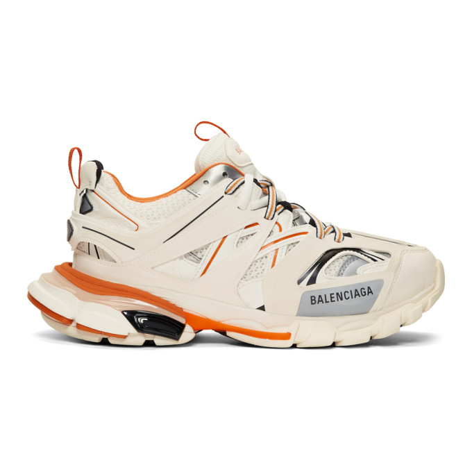 Balenciaga Off-White & Orange Track Runners Sneakers