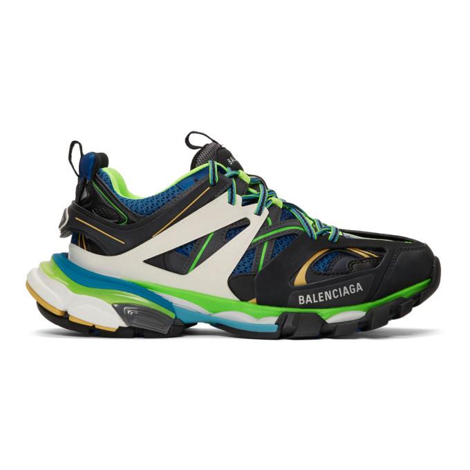 Balenciaga Black & Blue Track Runners Sneakers