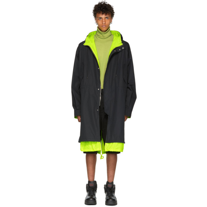 JUUN.J Neon Hooded Parka Coat in 5 Black