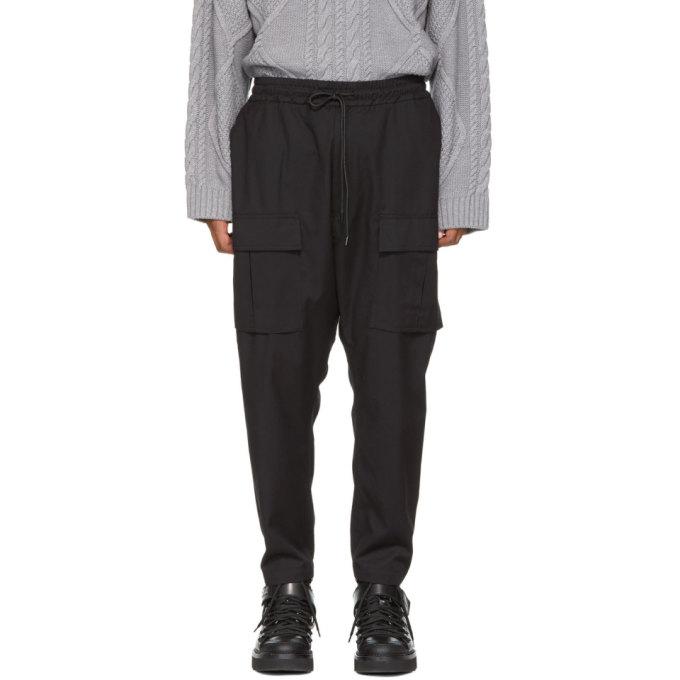 Image of Juun.J Black Drawstring Cargo Trousers