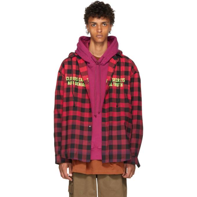 JUUN.J Detachable Hooded Checked Cotton Shirt in 6 Red