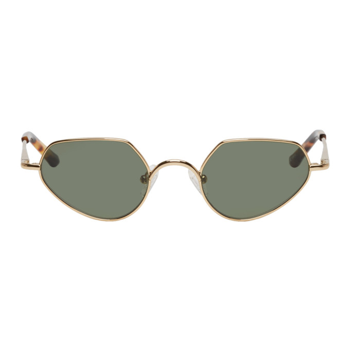 Dries Van Noten Gold Linda Farrow Edition Angular Sunglasses