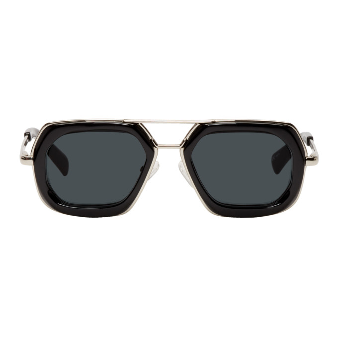 Image of Dries Van Noten Black & Silver 173 C1 Sunglasses
