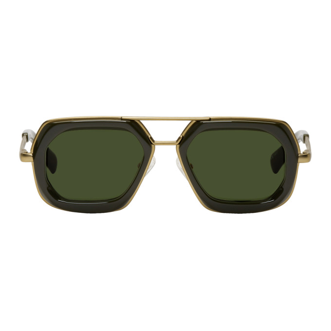 Image of Dries Van Noten Green & Gold 173 C4 Sunglasses