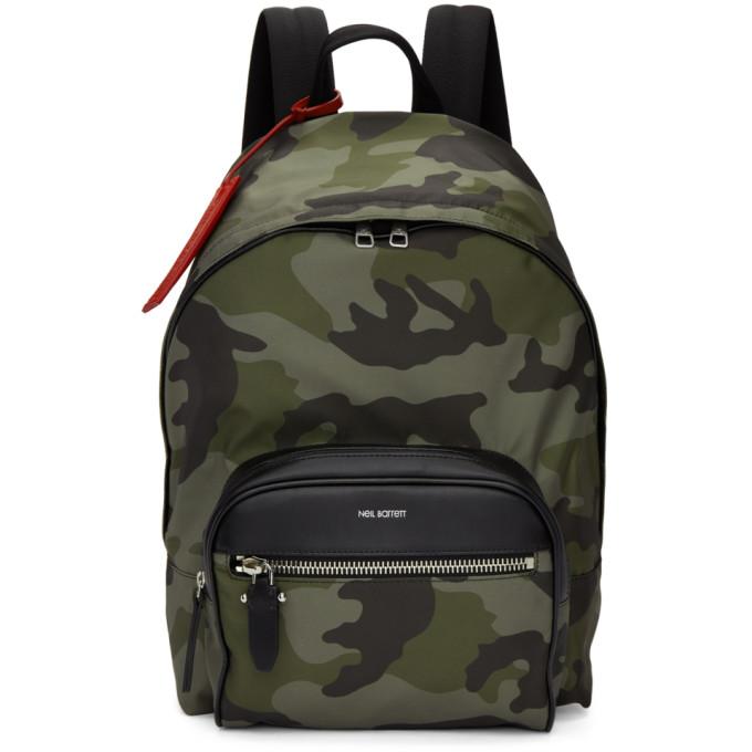 NEIL BARRETT Camouflage Backpack in Green