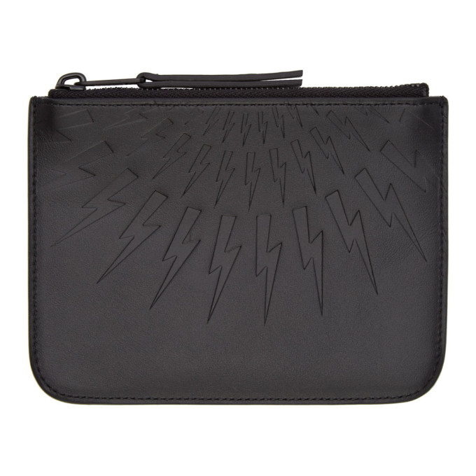 Neil Barrett Black Small Thunderbolt Pouch