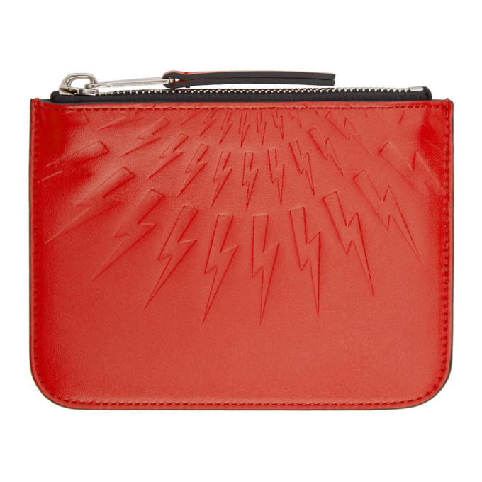 Neil Barrett Red Small Thunderbolt Pouch
