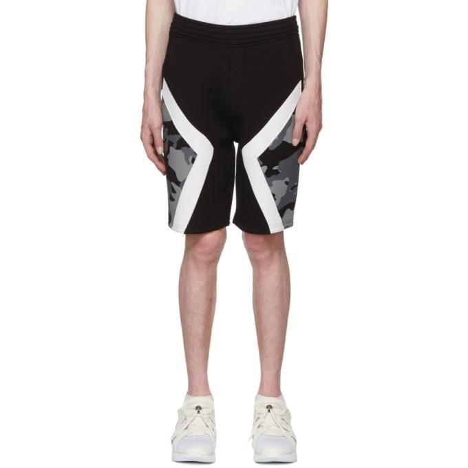 Two-Tone Military Shorts, 524Blkwht
