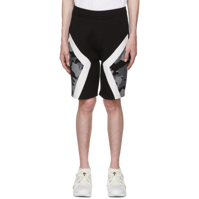 NEIL BARRETT Two-Tone Military Shorts, 524Blkwht