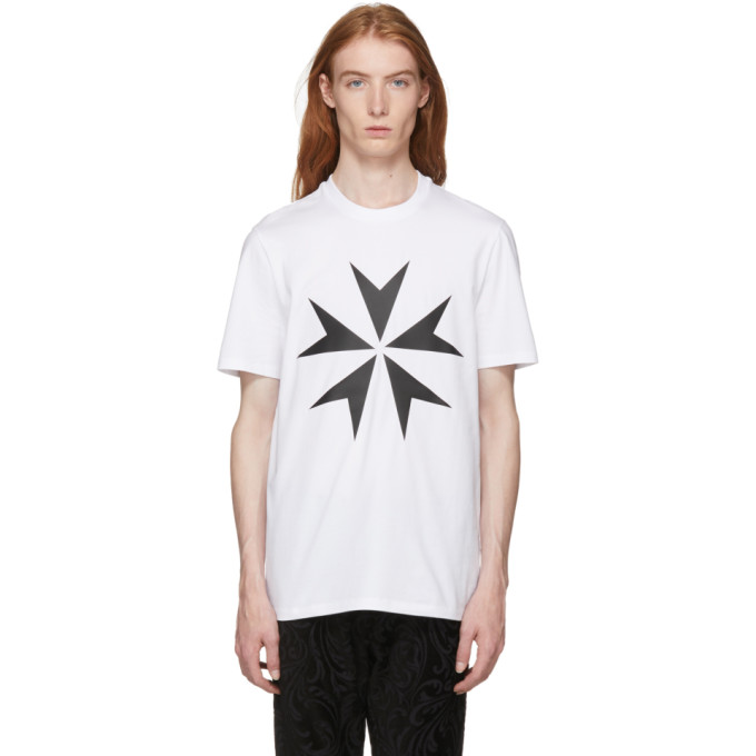NEIL BARRETT Star Printed Cotton Jersey T-Shirt, 526 Whtblk