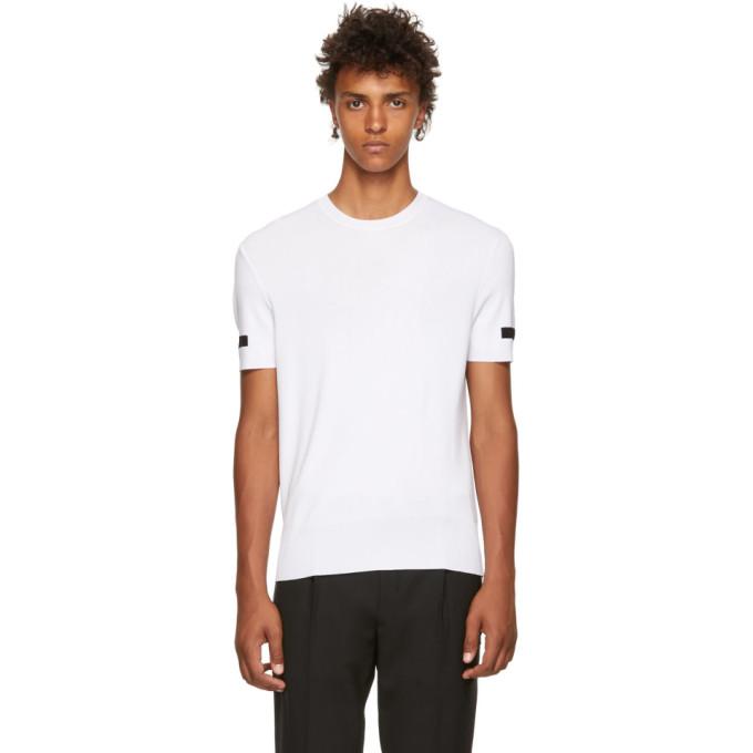 40b640b8 Neil Barrett White Knitted Crewneck T Shirt