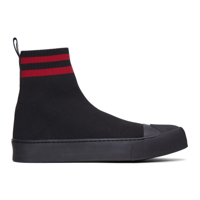 Neil Barrett Black Sock Skater Mid Sneakers