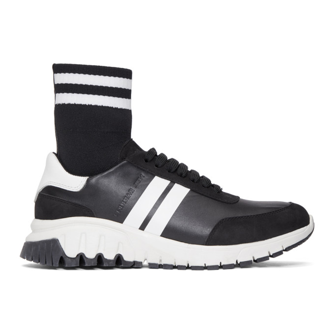 Neil Barrett Black Mid Sock Hybrid Runner