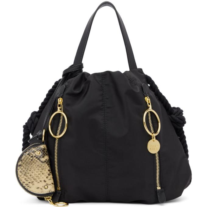 See by Chloe Black Zippered Tote Bag