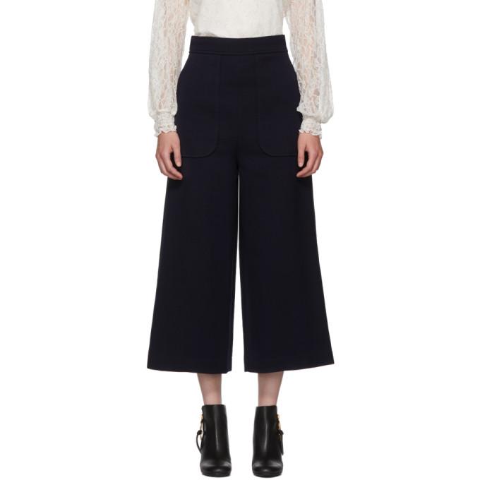 see by chloe female see by chloe navy wideleg trousers
