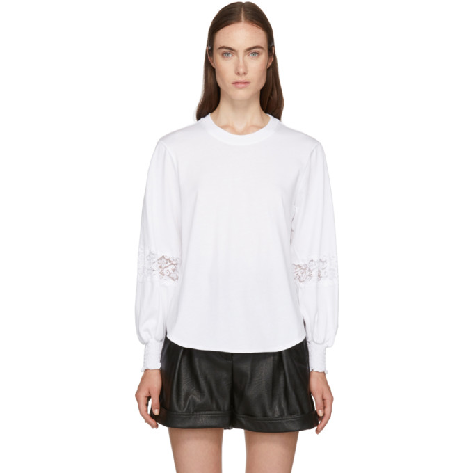 0e981984 See by Chloe White Lace Detail T Shirt