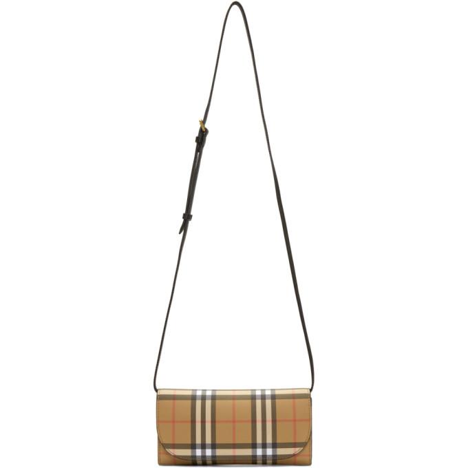 Burberry Beige & Black Henley Small Wallet Bag