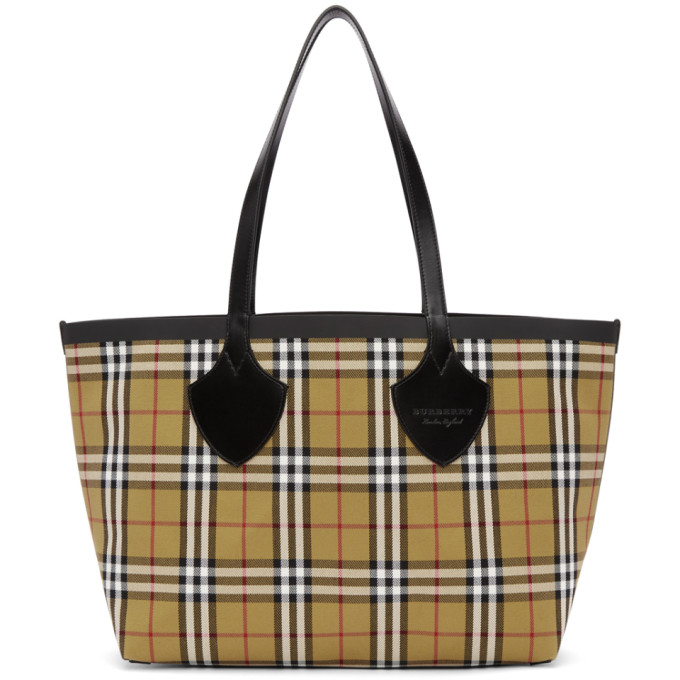 Burberry Reversible Yellow & Red Medium Check Tote