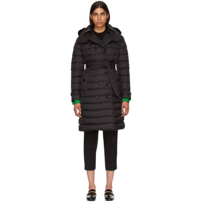Double-Breasted Belted Puffer Coat, Black