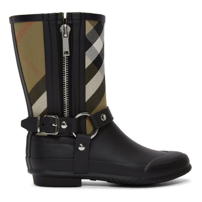 Burberry Black & Beige Check Biker Rain Boots