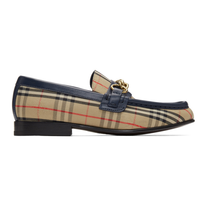 Burberry Beige & Navy Moorely Check Loafers