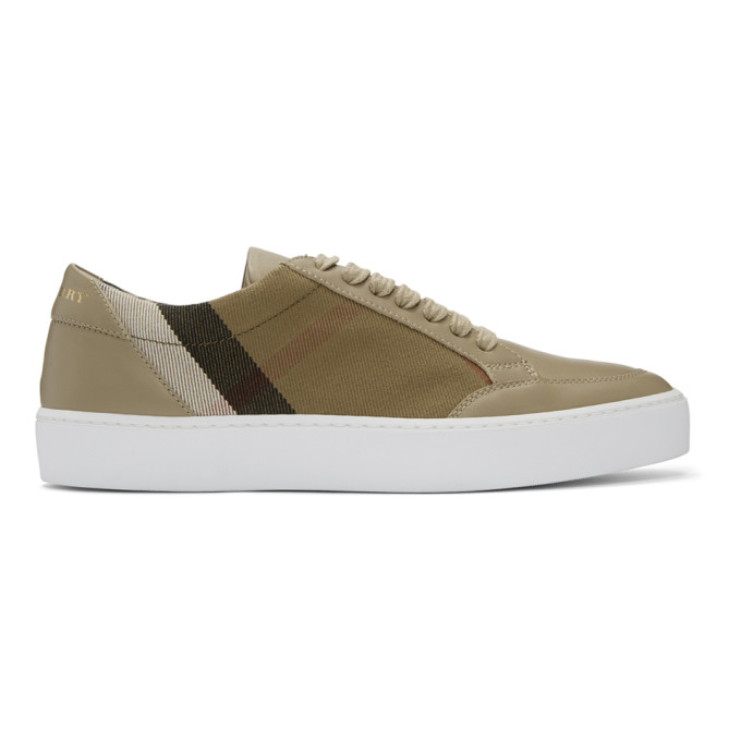 Image of Burberry Beige & Black Check Sneakers