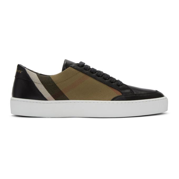 Burberry Beige & Black Check Sneakers